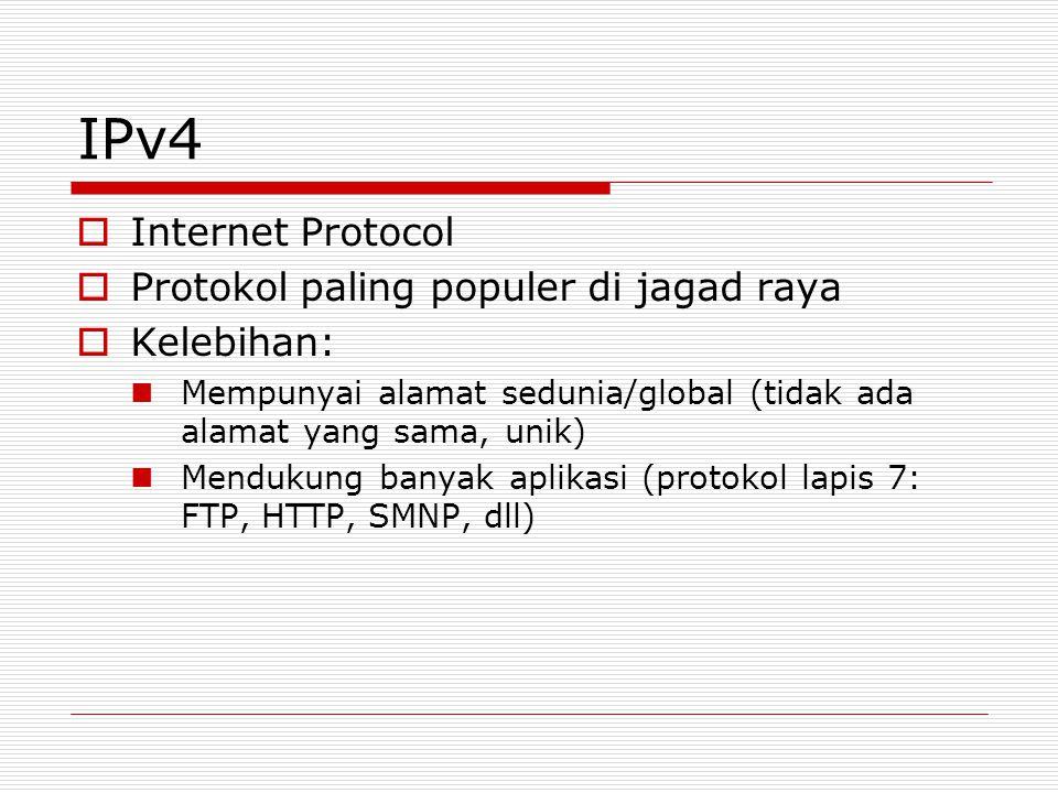 IPv4  Internet Protocol  Protokol paling populer di jagad raya  Kelebihan: Mempunyai alamat sedunia/global (tidak ada alamat yang sama, unik) Mendu