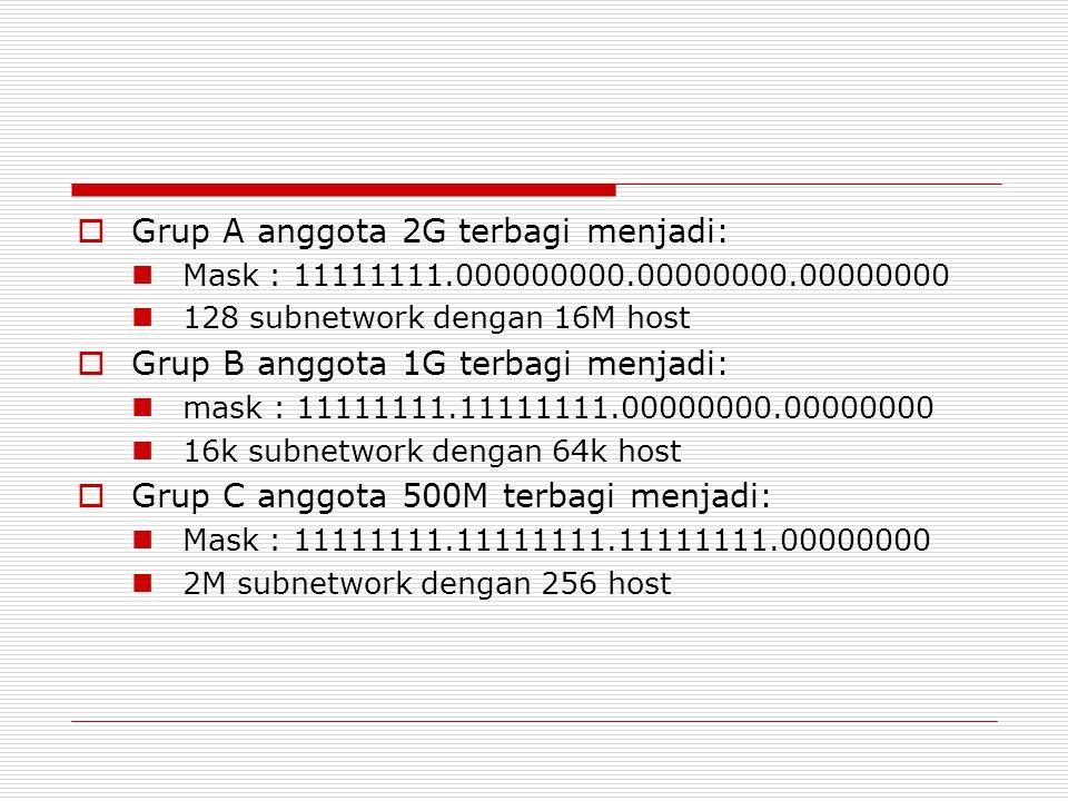  Grup A anggota 2G terbagi menjadi: Mask : 11111111.000000000.00000000.00000000 128 subnetwork dengan 16M host  Grup B anggota 1G terbagi menjadi: m