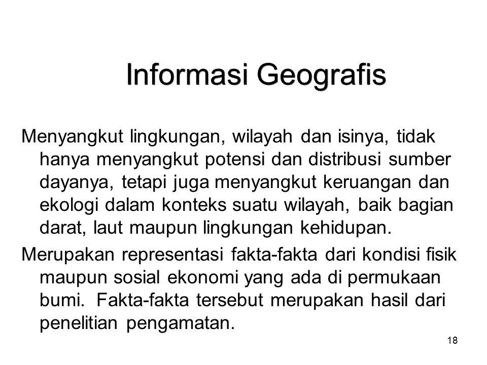 18 Informasi Geografis Menyangkut lingkungan, wilayah dan isinya, tidak hanya menyangkut potensi dan distribusi sumber dayanya, tetapi juga menyangkut