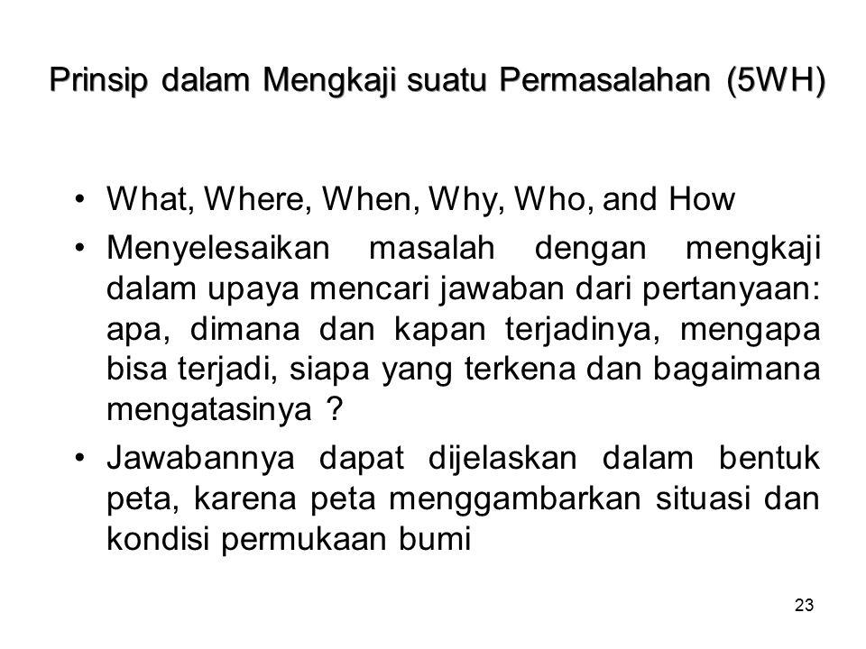 23 Prinsip dalam Mengkaji suatu Permasalahan (5WH) What, Where, When, Why, Who, and How Menyelesaikan masalah dengan mengkaji dalam upaya mencari jawa