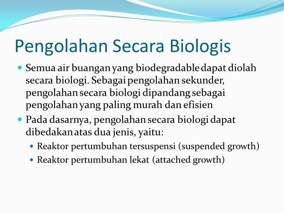 suspended growth mikroorganisme tumbuh dan berkembang dalam keadaan tersuspensi Proses lumpur aktif yang banyak dikenal berlangsung dalam jenis ini.