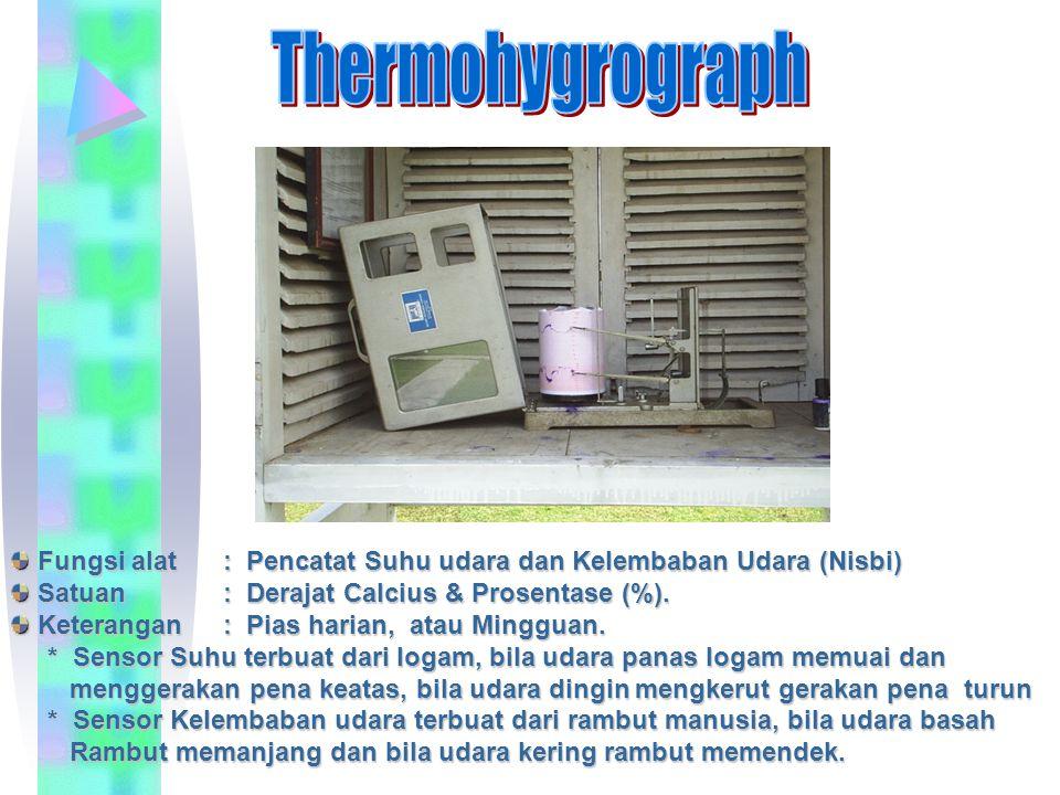 Fungsi alat: Pencatat Suhu udara dan Kelembaban Udara (Nisbi) Fungsi alat: Pencatat Suhu udara dan Kelembaban Udara (Nisbi) Satuan: Derajat Calcius &