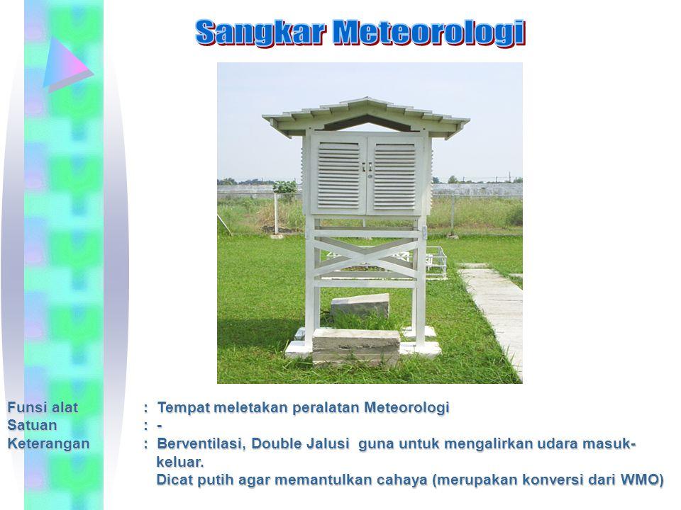 Funsi alat: Tempat meletakan peralatan Meteorologi Satuan: - Keterangan: Berventilasi, Double Jalusi guna untuk mengalirkan udara masuk- keluar. kelua