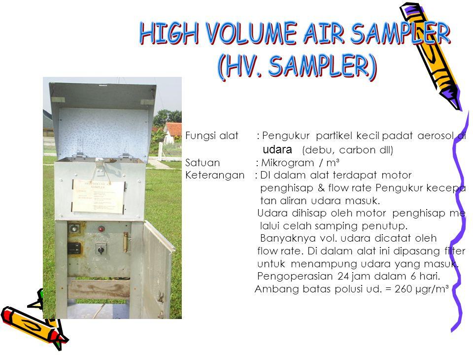Fungsi alat : Pengukur partikel kecil padat aerosol di udara (debu, carbon dll) Satuan : Mikrogram / m³ Keterangan : DI dalam alat terdapat motor peng