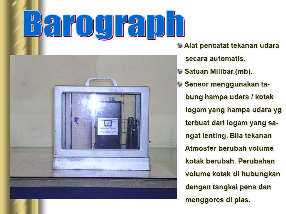 Alat pencatat tekanan udara Alat pencatat tekanan udara secara automatis. secara automatis. Satuan Milibar.(mb). Satuan Milibar.(mb). Sensor menggunak