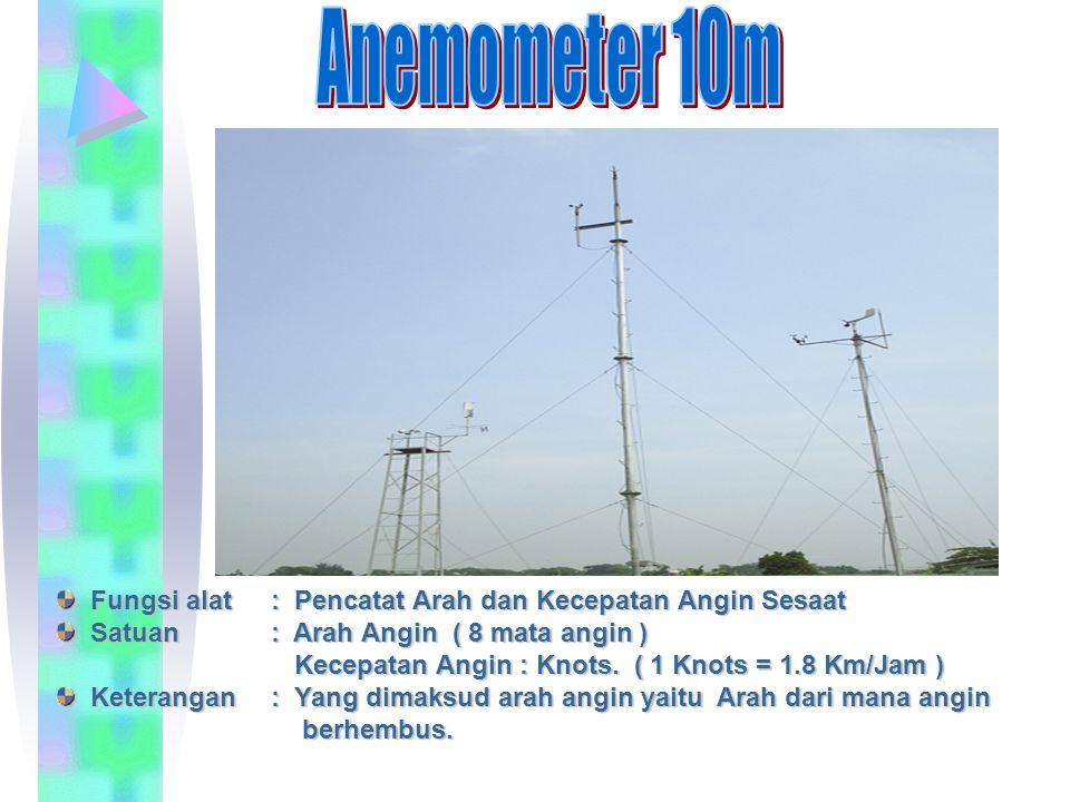 Fungsi alat: Pencatat Arah dan Kecepatan Angin Sesaat Satuan: Arah Angin ( 8 mata angin ) Kecepatan Angin : Knots. ( 1 Knots = 1.8 Km/Jam ) Keterangan