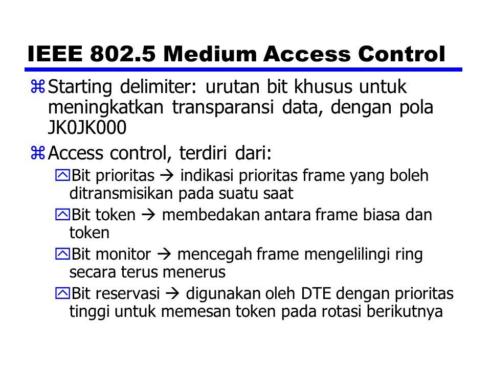 IEEE 802.5 Medium Access Control zStarting delimiter: urutan bit khusus untuk meningkatkan transparansi data, dengan pola JK0JK000 zAccess control, te