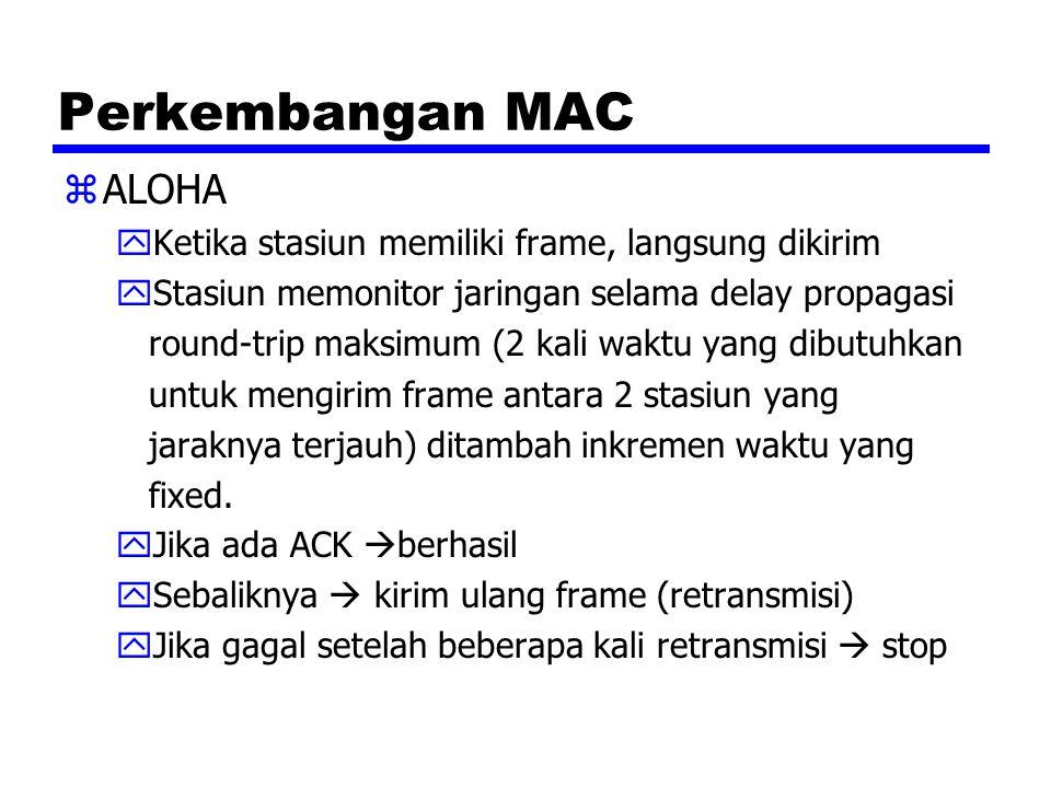 Perkembangan MAC zALOHA yKetika stasiun memiliki frame, langsung dikirim yStasiun memonitor jaringan selama delay propagasi round-trip maksimum (2 kal
