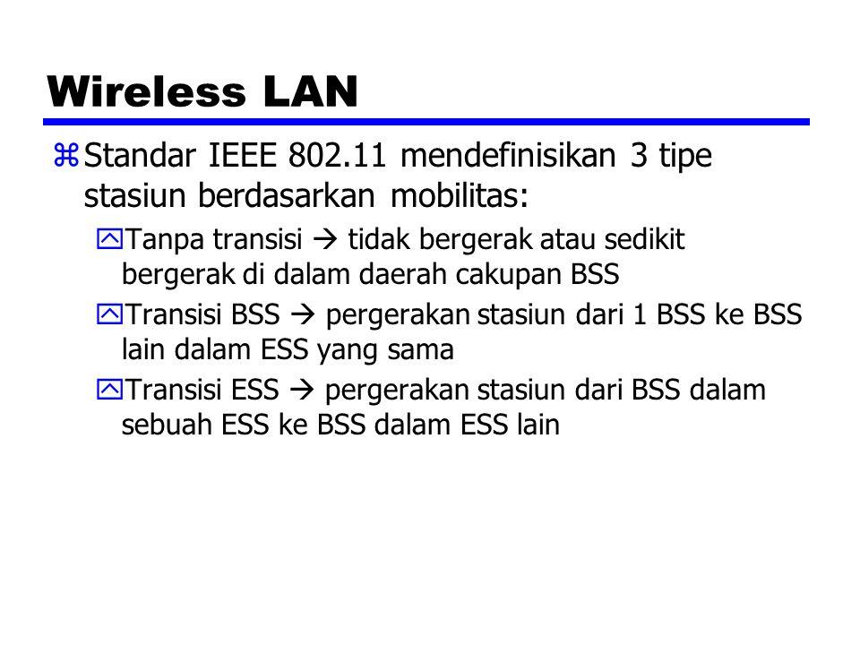 Wireless LAN zStandar IEEE 802.11 mendefinisikan 3 tipe stasiun berdasarkan mobilitas: yTanpa transisi  tidak bergerak atau sedikit bergerak di dalam