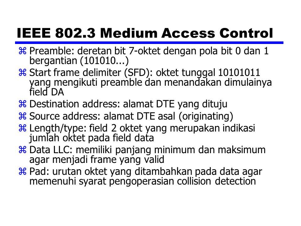 IEEE 802.3 Medium Access Control zPreamble: deretan bit 7-oktet dengan pola bit 0 dan 1 bergantian (101010...) zStart frame delimiter (SFD): oktet tun
