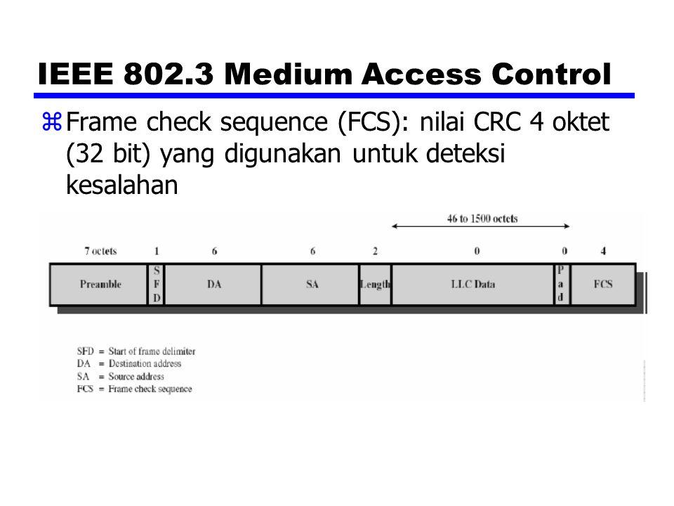 Spesifikasi IEEE 802.3 10-Mbps (Ethernet) zNotasi untuk membedakan implementasi: <data rate [Mbps]> zMedium 10BASE-F terdiri dari 3 spesifikasi: y10BASE-FP (pasif)  topologi star, panjang segmen sampai 1 km y10BASE-FL (link)  point to point, jarak antar stasiun atau repeater sampai 2 km y10BASE-FB (backbone)  jarak antar repeater sampai 2 km