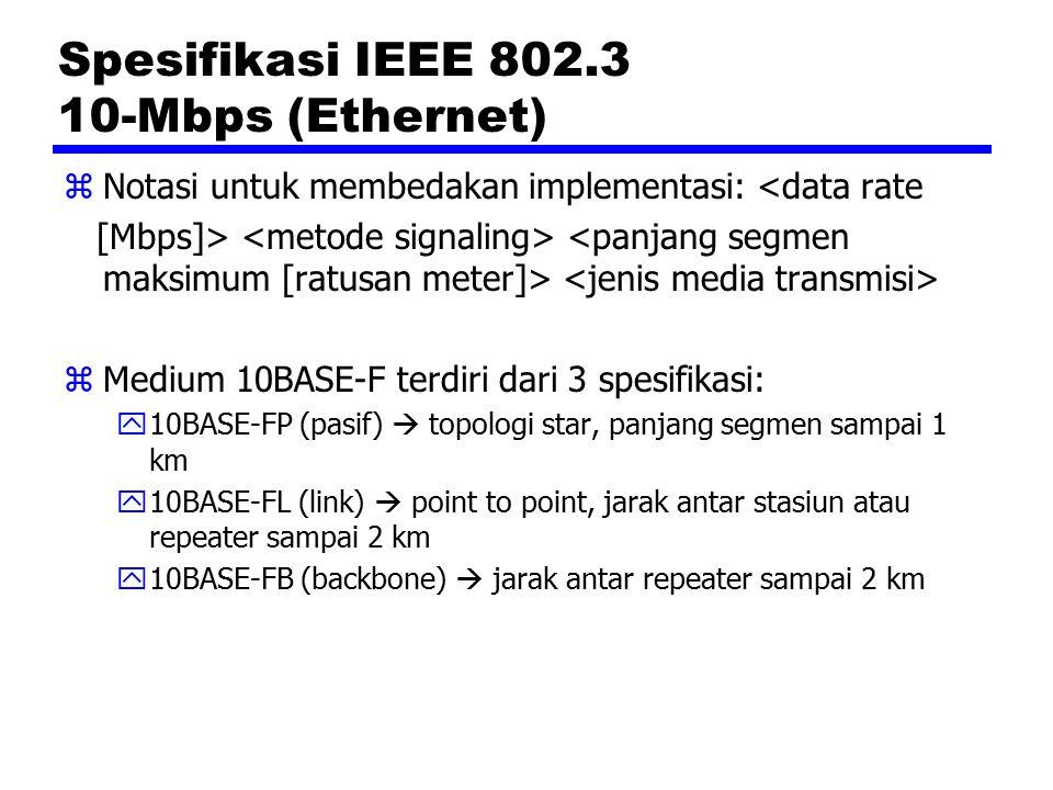 IEEE 802.5 Medium Access Control zFrame control: menyatakan tipe frame (MAC atau LLC/informasi) dan fungsi-fungsi kontrol tertentu zDestination address dan source address: alamat pengirim dan penerima zData unit: membawa data LLC zFrame check sequence: CRC 32 bit zEnd delimiter: transparansi data dengan pola JK1JK1IE zFrame status: terdiri dari bit address-recognized (A) dan bit frame-copied (C)