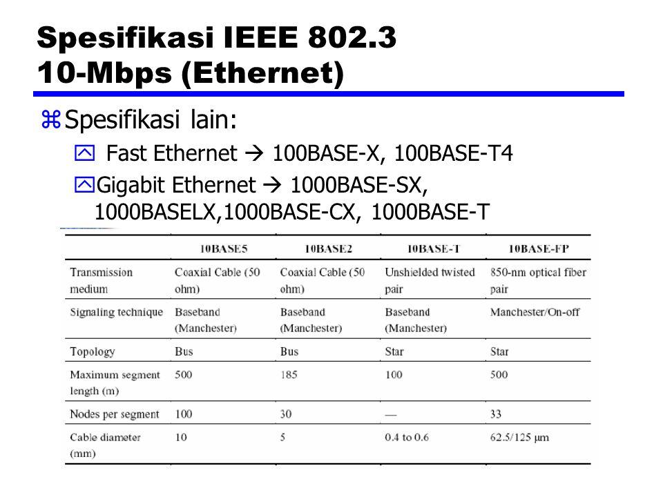 IEEE 802.5 Medium Access Control Frame MAC zSetiap stasiun dapat memeriksa apakah suatu frame mengalami error, kemudian mengeset bit E=1 pada field ED (end delimiter) jika terdeteksi kesalahan zStasiun pengirim dapat menyimpulkan salah satu dari 3 kondisi berikut dari field FS (frame status), yaitu: yStasiun penerima tidak ada atau tidak aktif (A=0,C=0) yStasiun penerima ada tetapi frame tidak dikopi (A=1, C=0) yFrame telah diterima (A=1, C=1)