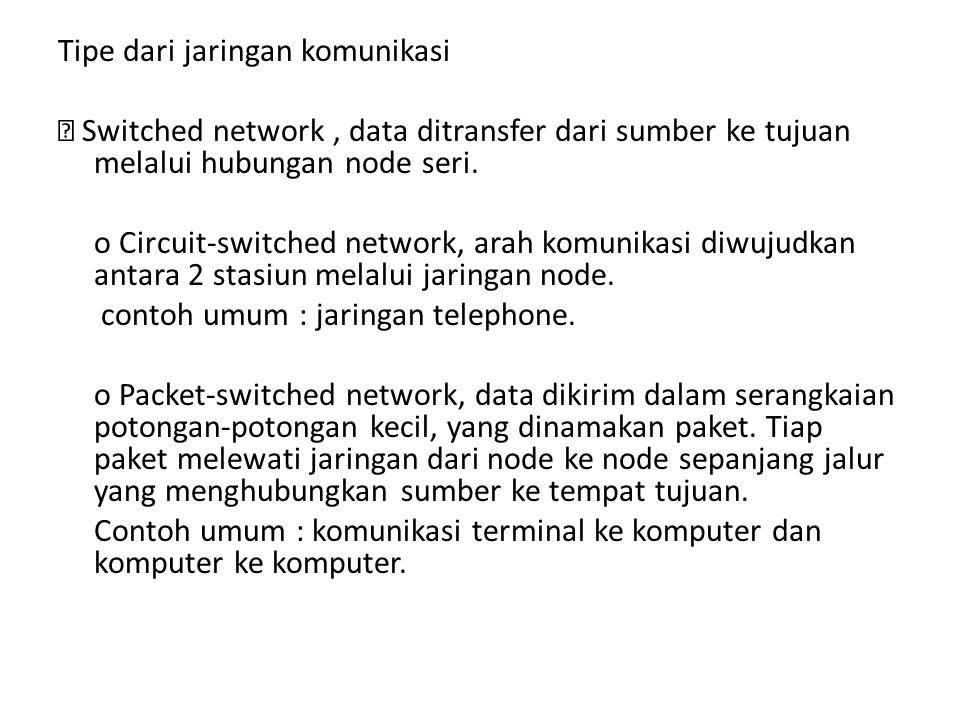 Tipe dari jaringan komunikasi  Switched network, data ditransfer dari sumber ke tujuan melalui hubungan node seri. o Circuit-switched network, arah k