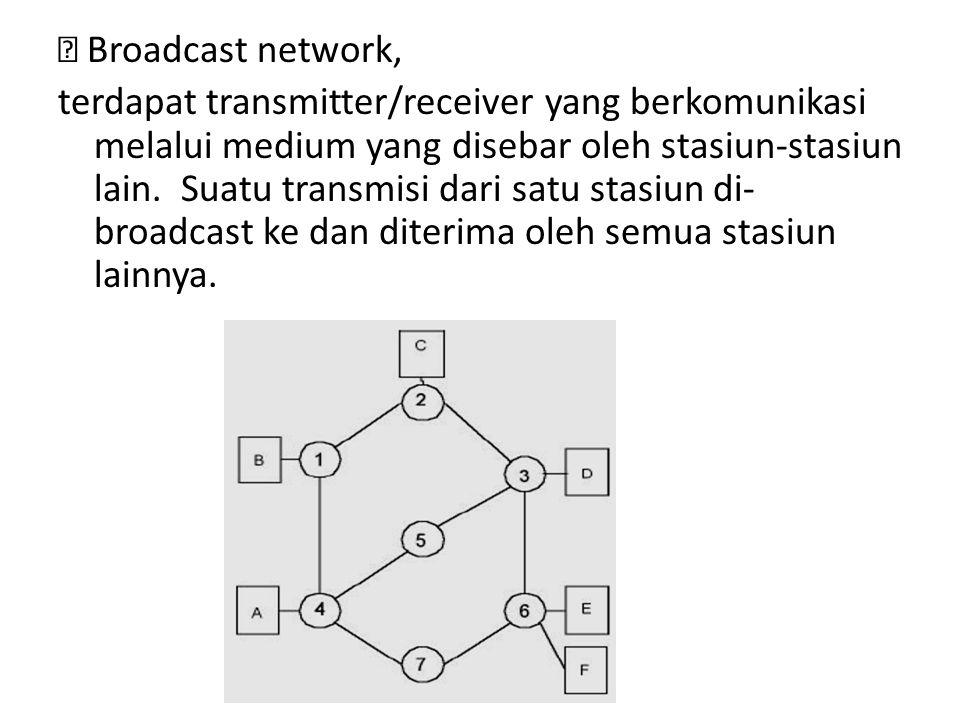  Broadcast network, terdapat transmitter/receiver yang berkomunikasi melalui medium yang disebar oleh stasiun-stasiun lain. Suatu transmisi dari satu