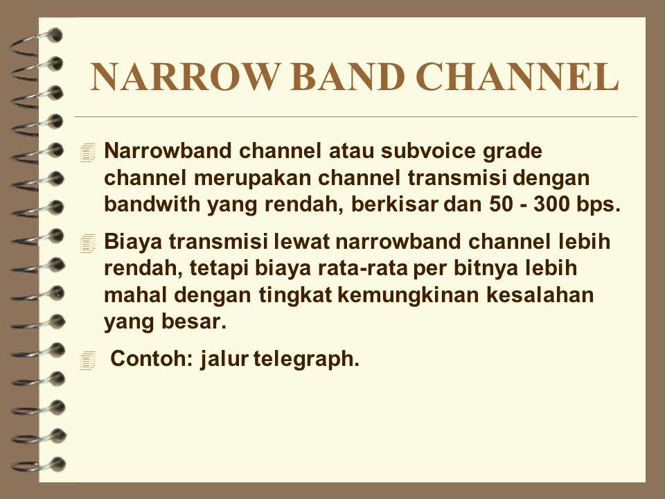 NARROW BAND CHANNEL 4 Narrowband channel atau subvoice grade channel merupakan channel transmisi dengan bandwith yang rendah, berkisar dan 50 - 300 bp