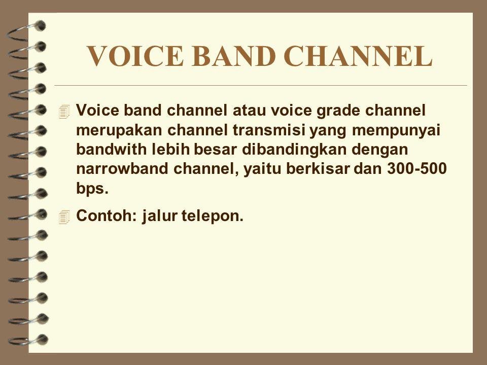 VOICE BAND CHANNEL 4 Voice band channel atau voice grade channel merupakan channel transmisi yang mempunyai bandwith lebih besar dibandingkan dengan n