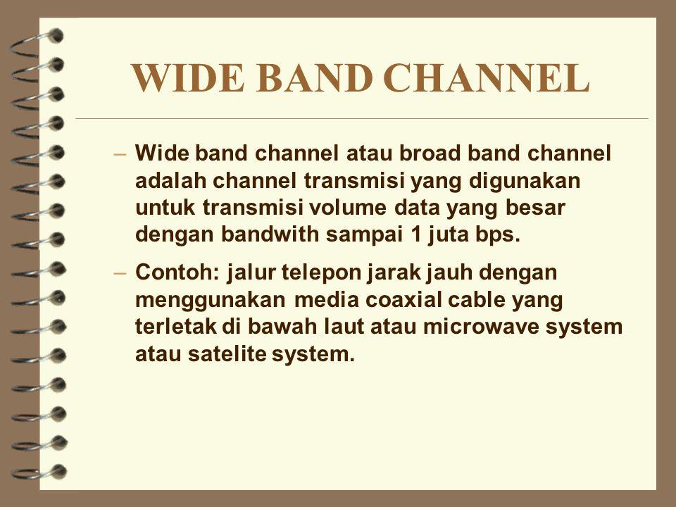 WIDE BAND CHANNEL –Wide band channel atau broad band channel adalah channel transmisi yang digunakan untuk transmisi volume data yang besar dengan ban