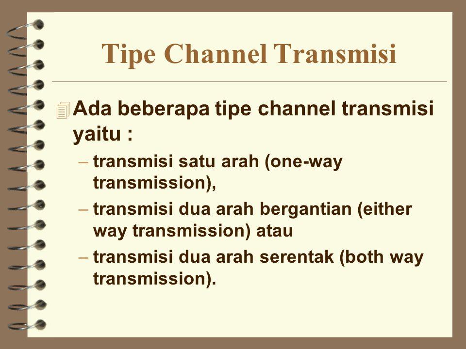 Tipe Channel Transmisi 4 Ada beberapa tipe channel transmisi yaitu : –transmisi satu arah (one-way transmission), –transmisi dua arah bergantian (eith