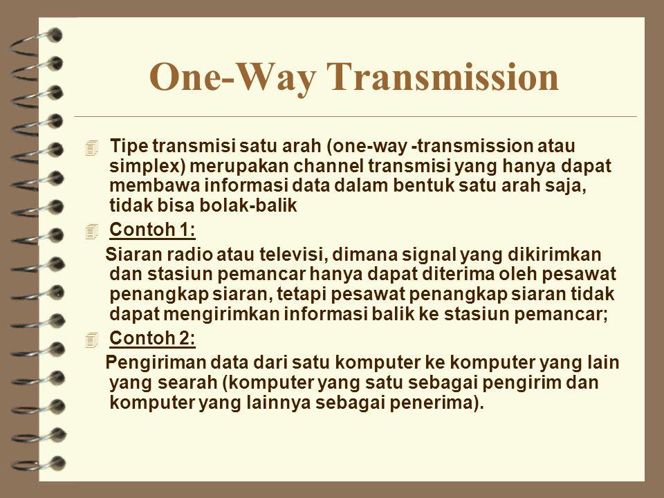 One-Way Transmission 4 Tipe transmisi satu arah (one-way -transmission atau simplex) merupakan channel transmisi yang hanya dapat membawa informasi da