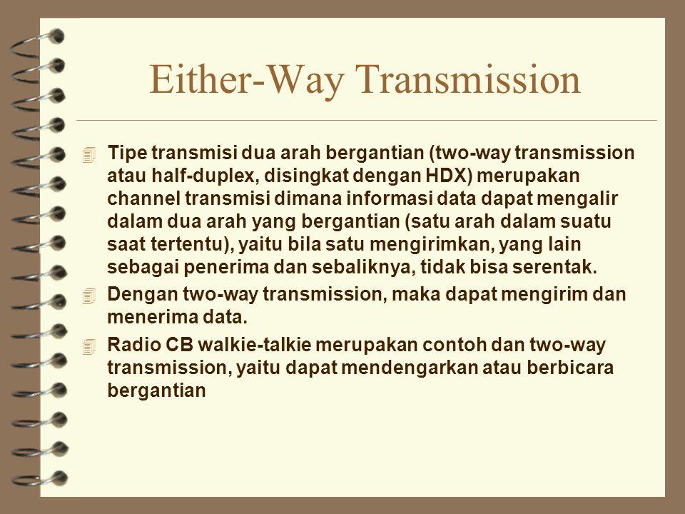 Either-Way Transmission 4 Tipe transmisi dua arah bergantian (two-way transmission atau half-duplex, disingkat dengan HDX) merupakan channel transmisi