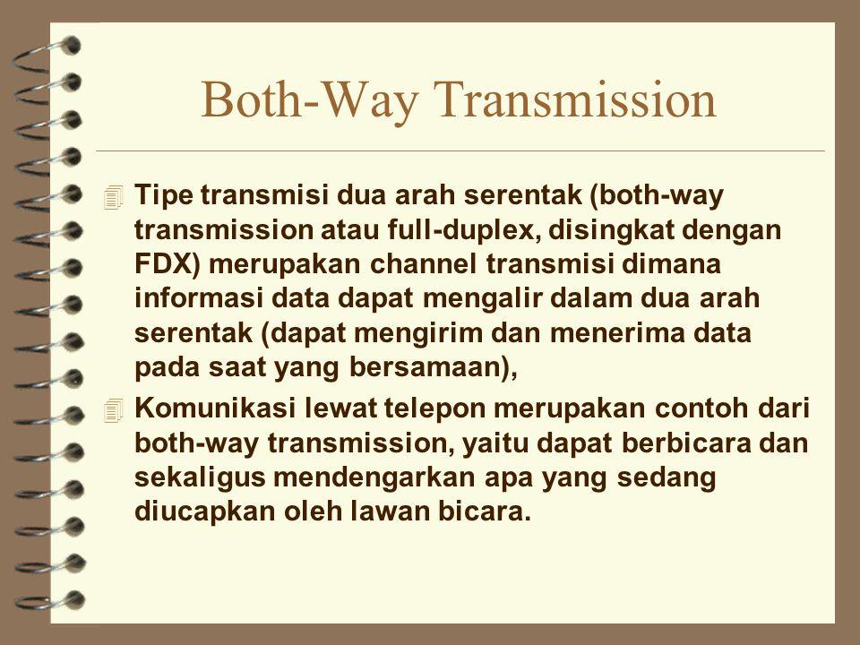 Both-Way Transmission 4 Tipe transmisi dua arah serentak (both-way transmission atau full-duplex, disingkat dengan FDX) merupakan channel transmisi di