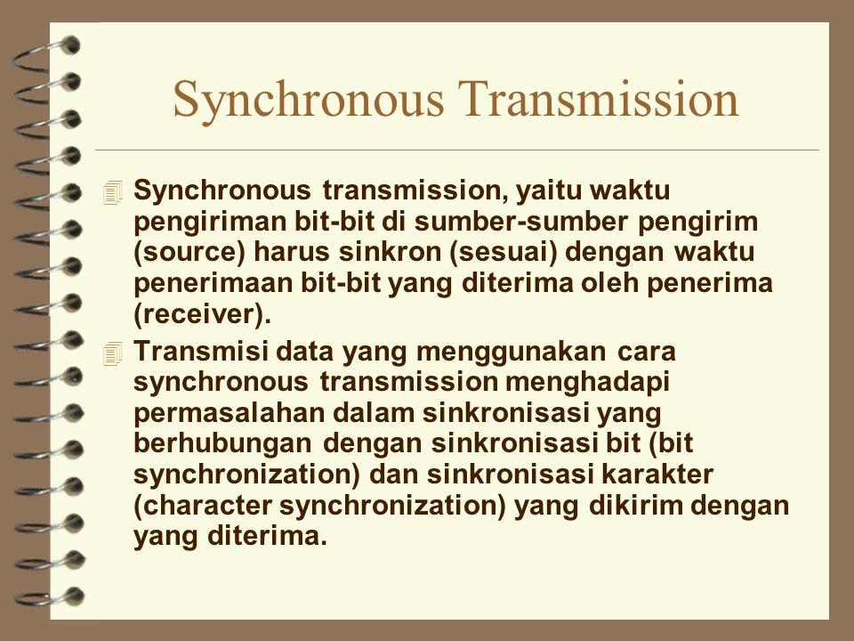 Synchronous Transmission 4 Synchronous transmission, yaitu waktu pengiriman bit-bit di sumber-sumber pengirim (source) harus sinkron (sesuai) dengan w