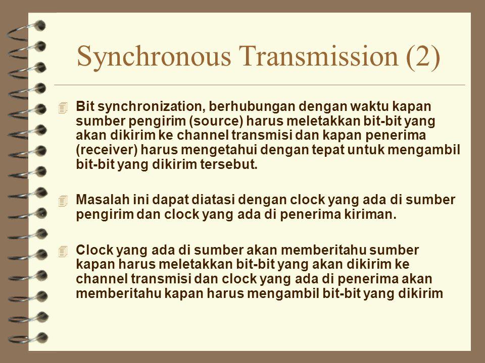 Synchronous Transmission (2) 4 Bit synchronization, berhubungan dengan waktu kapan sumber pengirim (source) harus meletakkan bit-bit yang akan dikirim