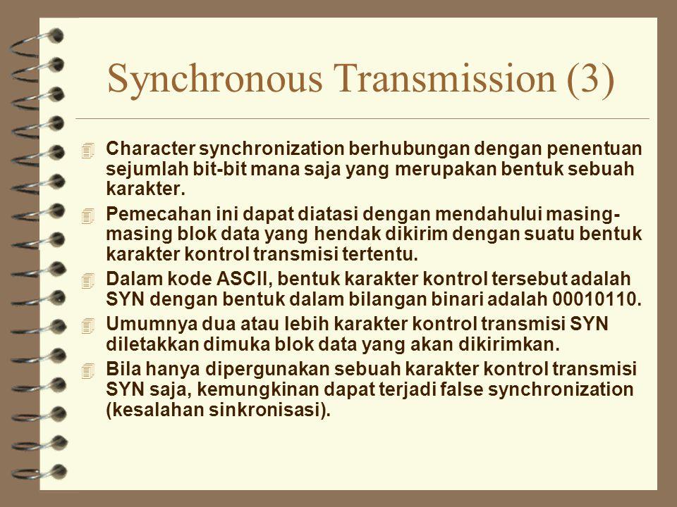 Synchronous Transmission (3) 4 Character synchronization berhubungan dengan penentuan sejumlah bit-bit mana saja yang merupakan bentuk sebuah karakter
