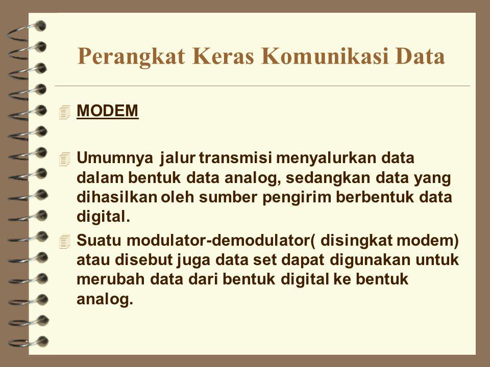 Perangkat Keras Komunikasi Data 4 MODEM 4 Umumnya jalur transmisi menyalurkan data dalam bentuk data analog, sedangkan data yang dihasilkan oleh sumbe