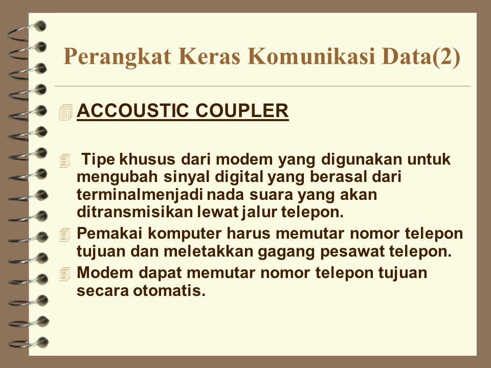 Perangkat Keras Komunikasi Data(2) 4 ACCOUSTIC COUPLER 4 Tipe khusus dari modem yang digunakan untuk mengubah sinyal digital yang berasal dari termina