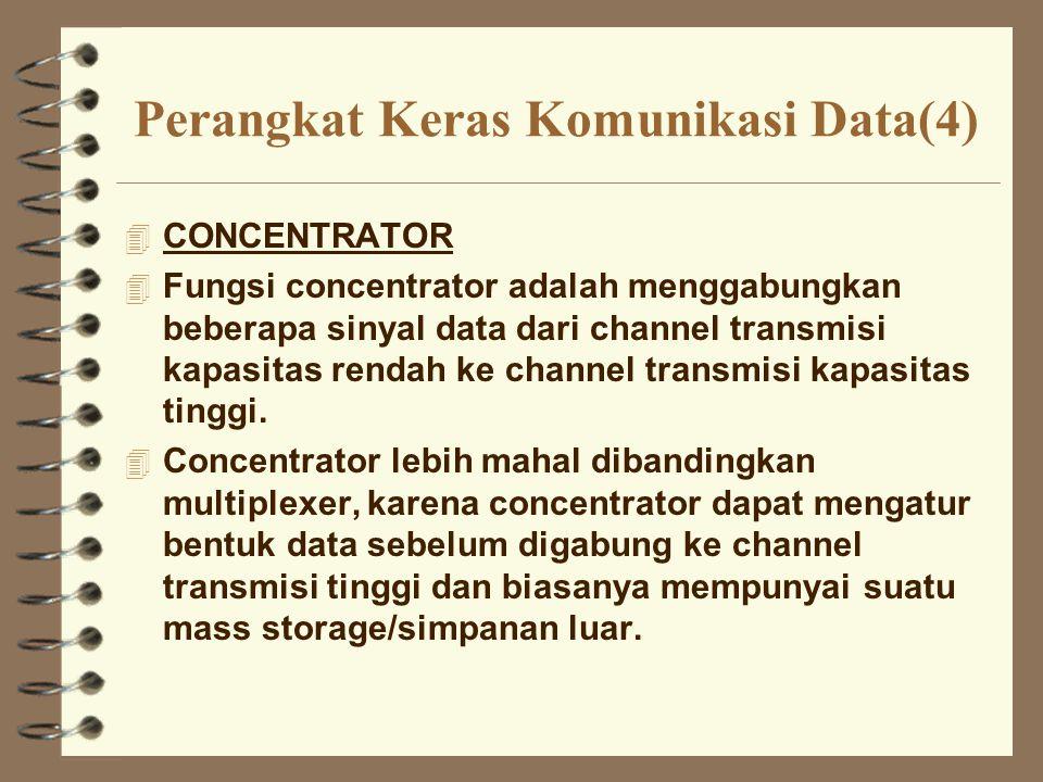 Perangkat Keras Komunikasi Data(4) 4 CONCENTRATOR 4 Fungsi concentrator adalah menggabungkan beberapa sinyal data dari channel transmisi kapasitas ren