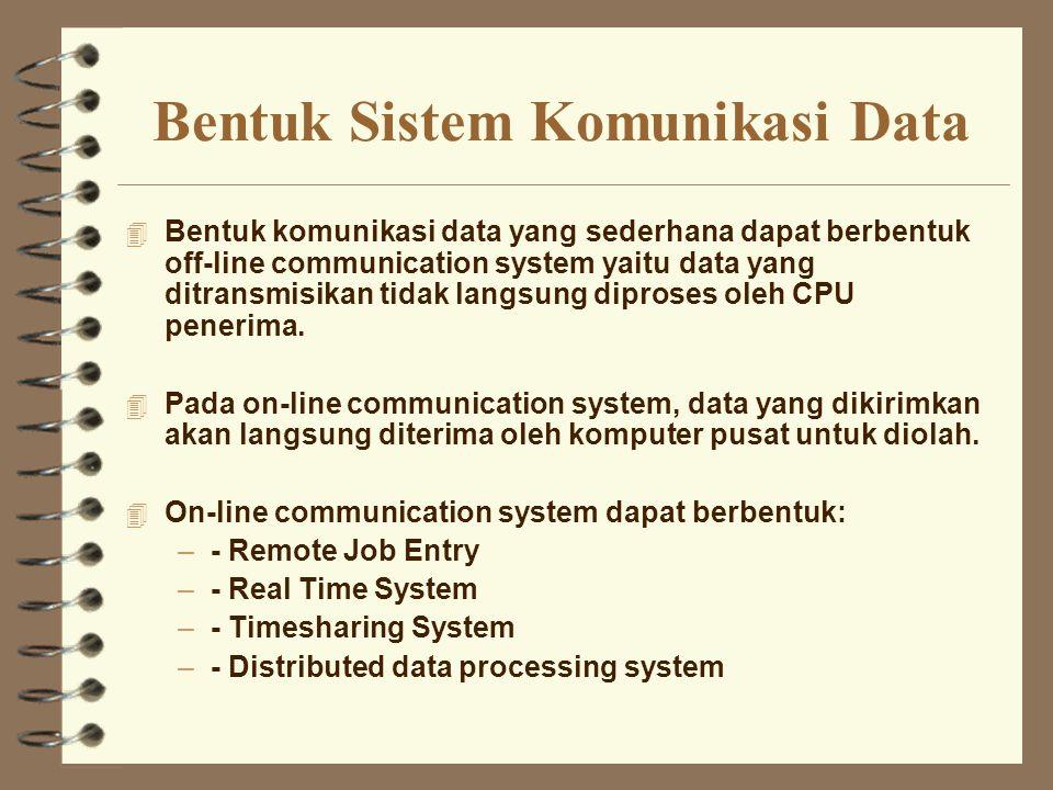 Bentuk Sistem Komunikasi Data 4 Bentuk komunikasi data yang sederhana dapat berbentuk off-line communication system yaitu data yang ditransmisikan tid