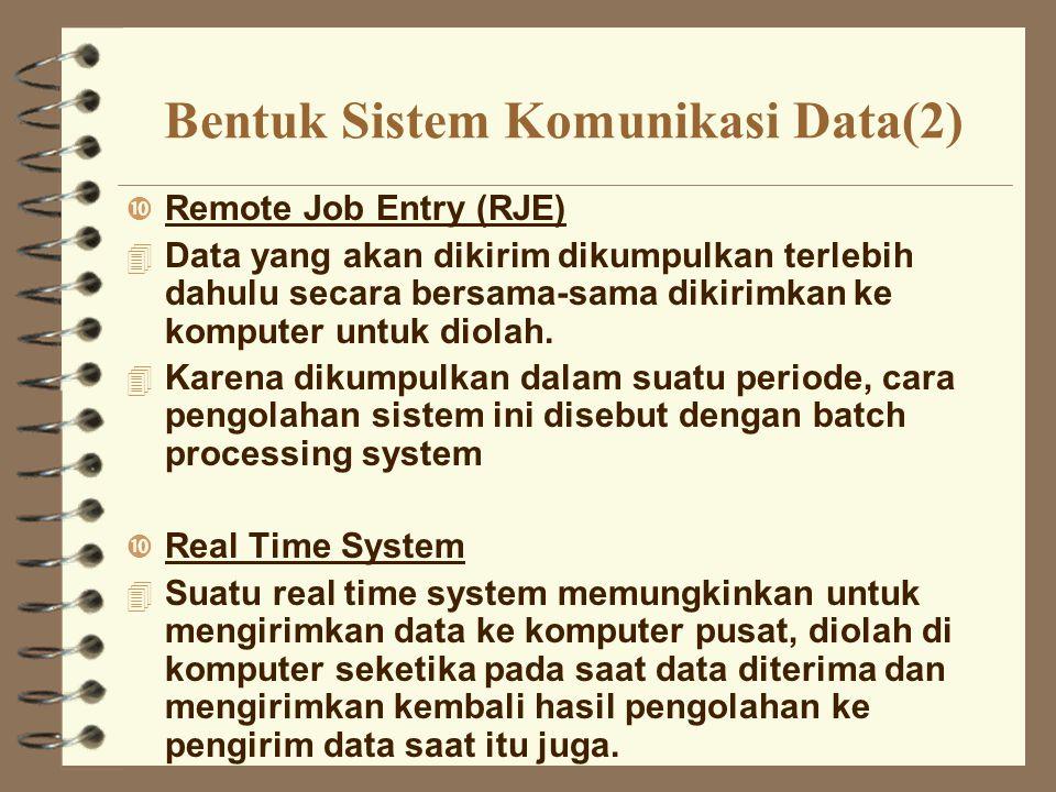 Bentuk Sistem Komunikasi Data(2) Remote Job Entry (RJE) 4 Data yang akan dikirim dikumpulkan terlebih dahulu secara bersama-sama dikirimkan ke kompute