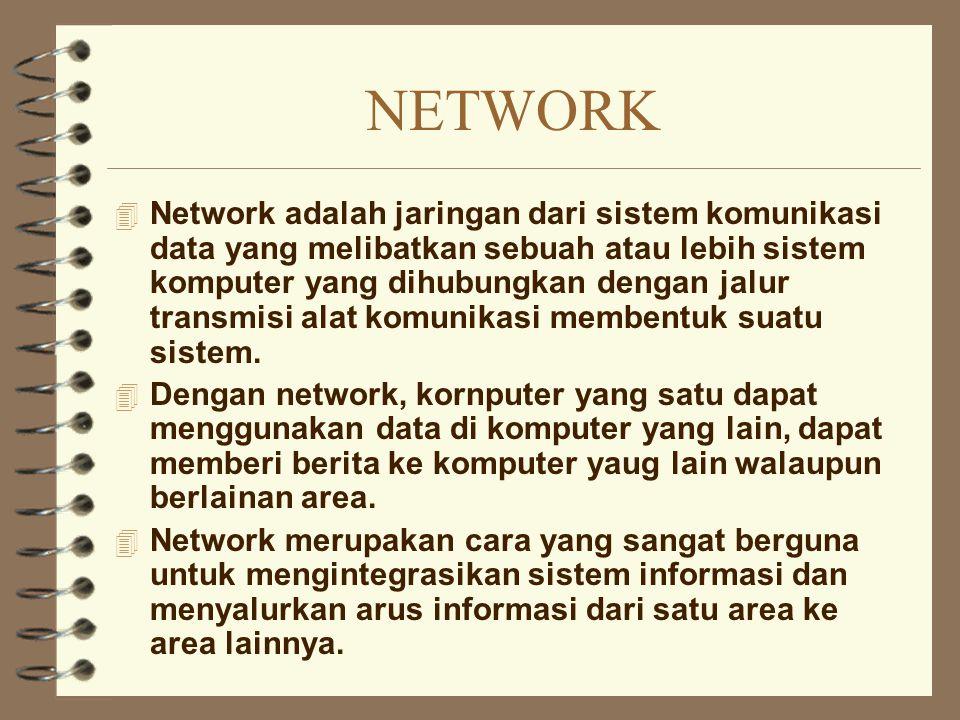 NETWORK 4 Network adalah jaringan dari sistem komunikasi data yang melibatkan sebuah atau lebih sistem komputer yang dihubungkan dengan jalur transmis