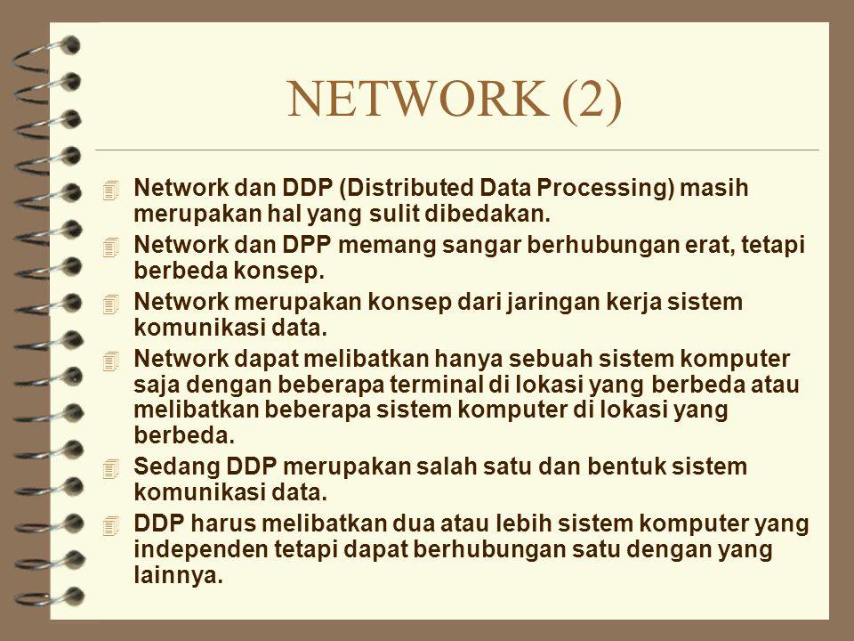 NETWORK (2) 4 Network dan DDP (Distributed Data Processing) masih merupakan hal yang sulit dibedakan. 4 Network dan DPP memang sangar berhubungan erat