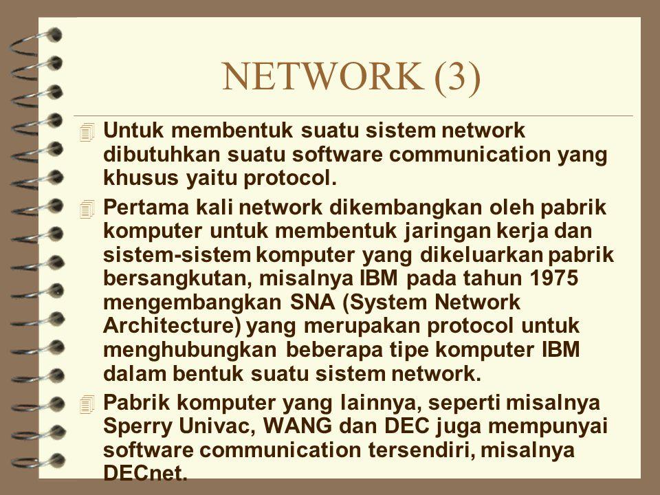 NETWORK (3) 4 Untuk membentuk suatu sistem network dibutuhkan suatu software communication yang khusus yaitu protocol. 4 Pertama kali network dikemban