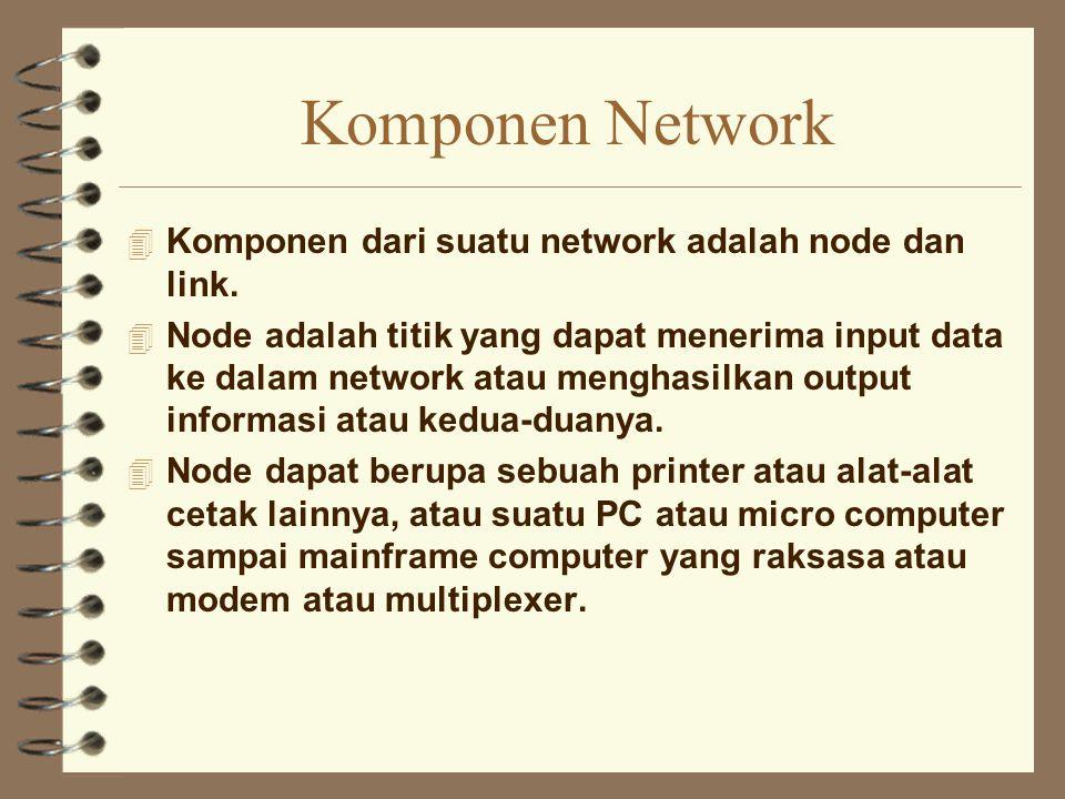 Komponen Network 4 Komponen dari suatu network adalah node dan link. 4 Node adalah titik yang dapat menerima input data ke dalam network atau menghasi