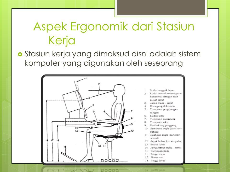 Aspek Ergonomik dari Stasiun Kerja  Stasiun kerja yang dimaksud disni adalah sistem komputer yang digunakan oleh seseorang