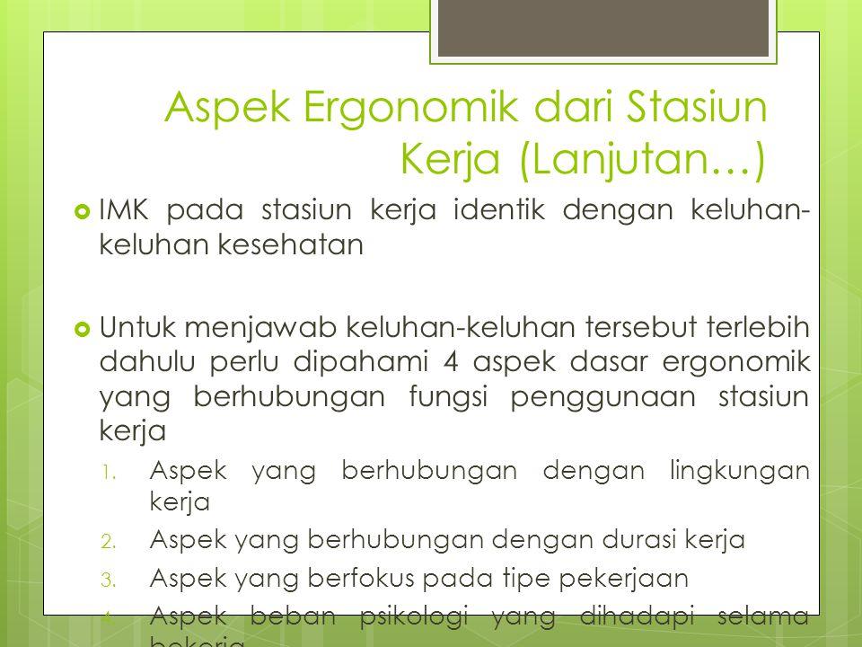 Aspek Ergonomik dari Stasiun Kerja (Lanjutan…)  IMK pada stasiun kerja identik dengan keluhan- keluhan kesehatan  Untuk menjawab keluhan-keluhan ter
