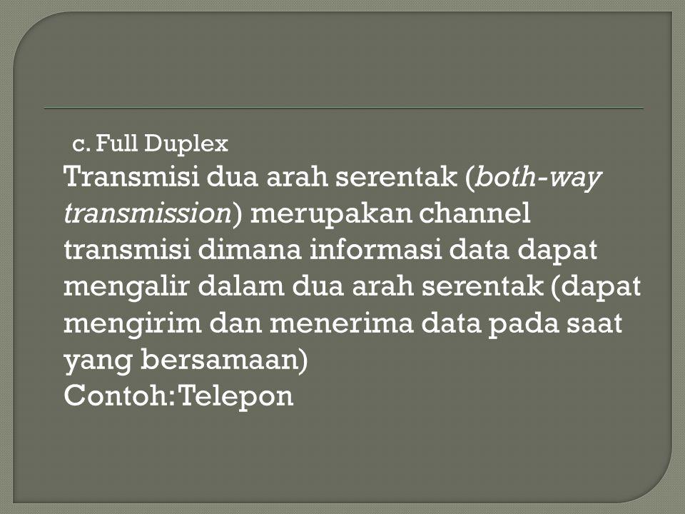 c. Full Duplex Transmisi dua arah serentak (both-way transmission) merupakan channel transmisi dimana informasi data dapat mengalir dalam dua arah ser