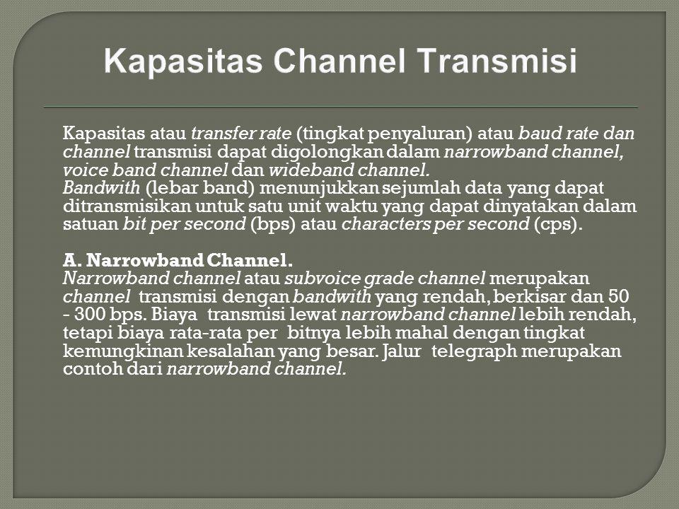 Kapasitas atau transfer rate (tingkat penyaluran) atau baud rate dan channel transmisi dapat digolongkan dalam narrowband channel, voice band channel