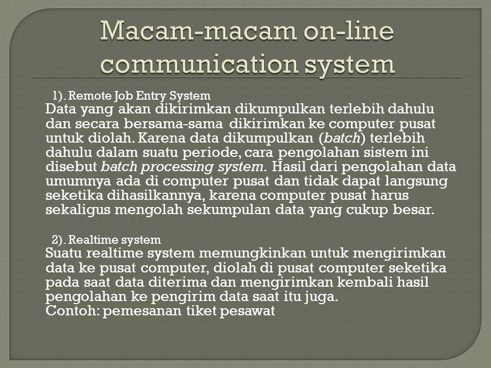 1). Remote Job Entry System Data yang akan dikirimkan dikumpulkan terlebih dahulu dan secara bersama-sama dikirimkan ke computer pusat untuk diolah. K