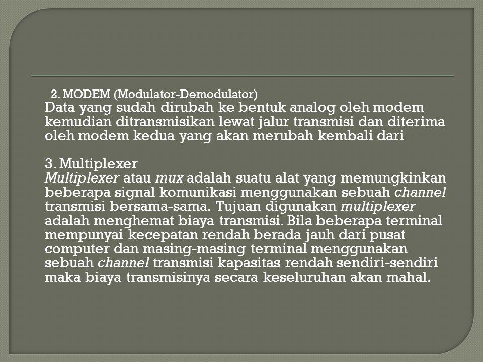 2. MODEM (Modulator-Demodulator) Data yang sudah dirubah ke bentuk analog oleh modem kemudian ditransmisikan lewat jalur transmisi dan diterima oleh m
