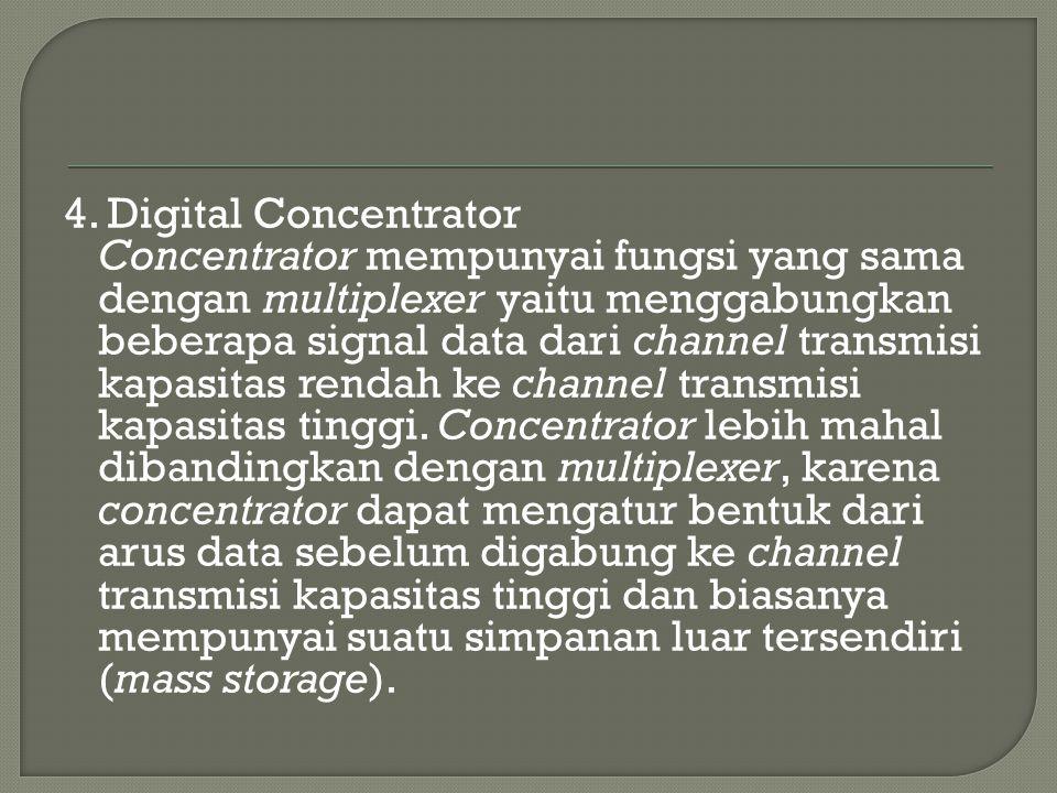 4. Digital Concentrator Concentrator mempunyai fungsi yang sama dengan multiplexer yaitu menggabungkan beberapa signal data dari channel transmisi kap