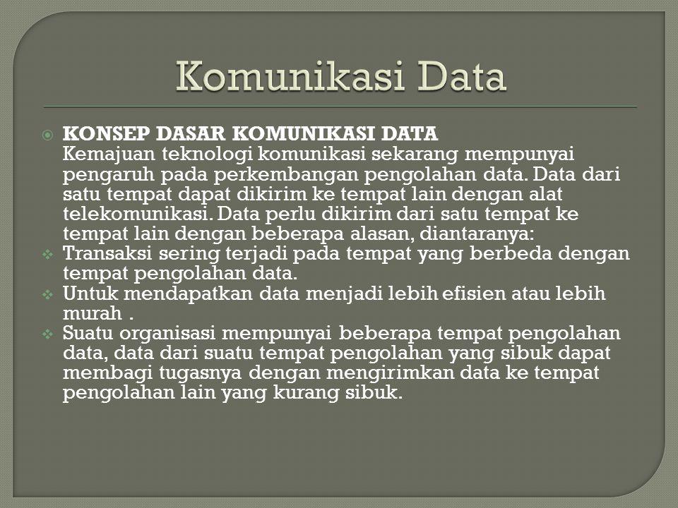  KONSEP DASAR KOMUNIKASI DATA Kemajuan teknologi komunikasi sekarang mempunyai pengaruh pada perkembangan pengolahan data. Data dari satu tempat dapa