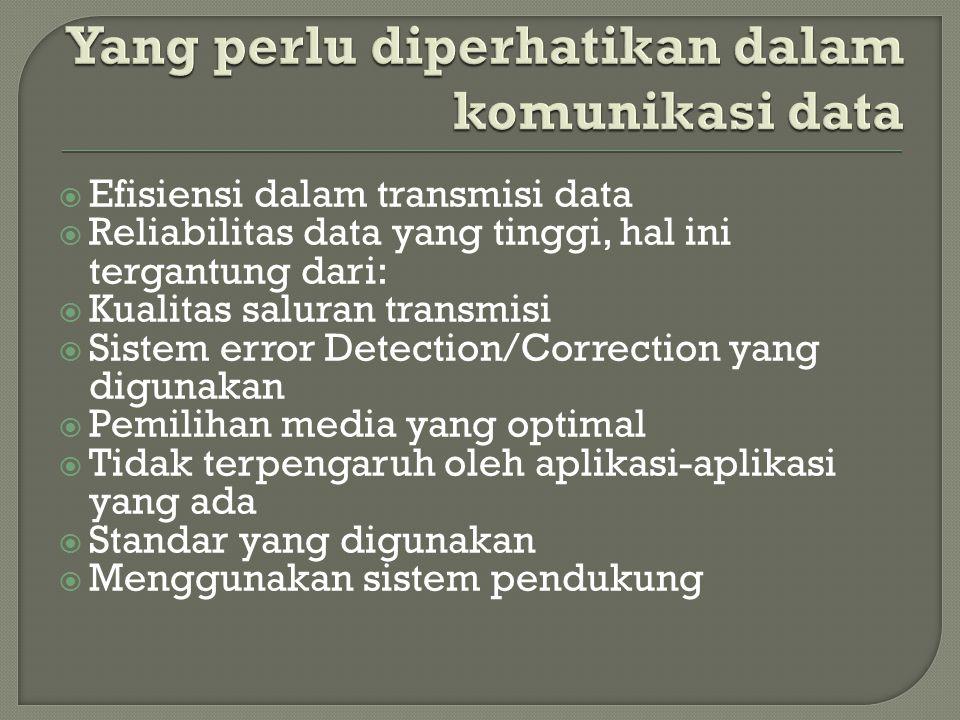  Efisiensi dalam transmisi data  Reliabilitas data yang tinggi, hal ini tergantung dari:  Kualitas saluran transmisi  Sistem error Detection/Corre