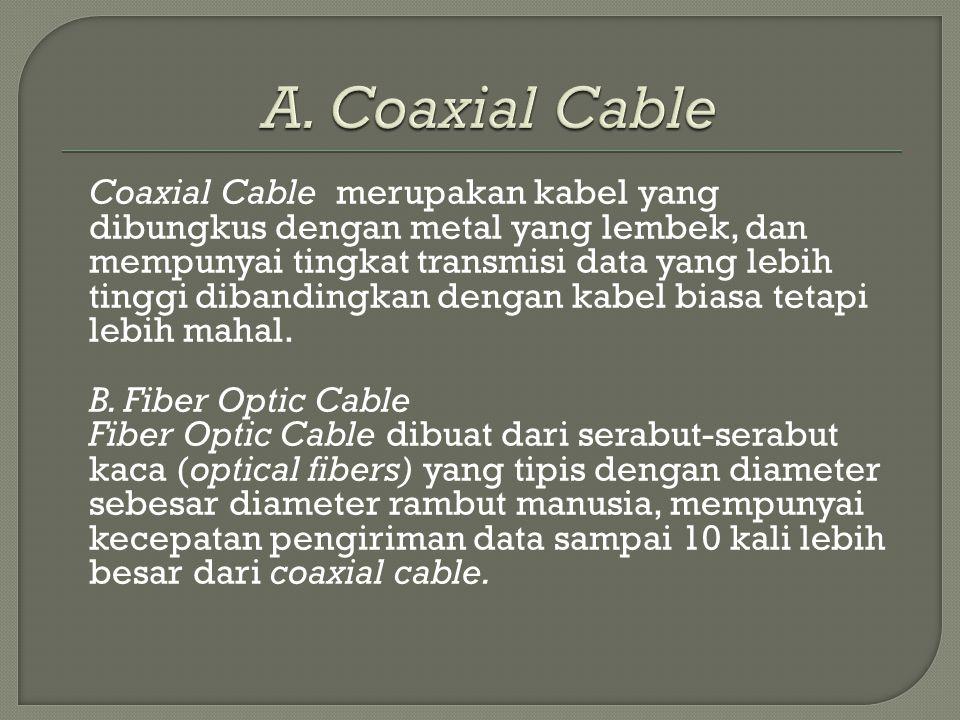 Coaxial Cable merupakan kabel yang dibungkus dengan metal yang lembek, dan mempunyai tingkat transmisi data yang lebih tinggi dibandingkan dengan kabe