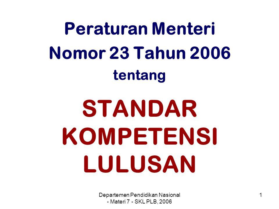 Departemen Pendidikan Nasional - Materi 7 - SKL PLB, 2006 2 Pengertian Kompetensi adalah kemampuan bersikap, berpikir, dan bertindak secara konsisten sebagai perwujudan dari pengetahuan, sikap, dan keterampilan yang dimiliki peserta didik.