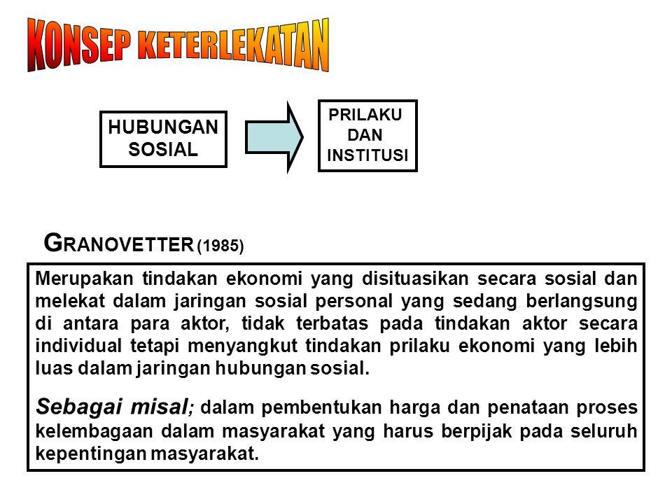 PRILAKU DAN INSTITUSI HUBUNGAN SOSIAL G RANOVETTER (1985) Merupakan tindakan ekonomi yang disituasikan secara sosial dan melekat dalam jaringan sosial